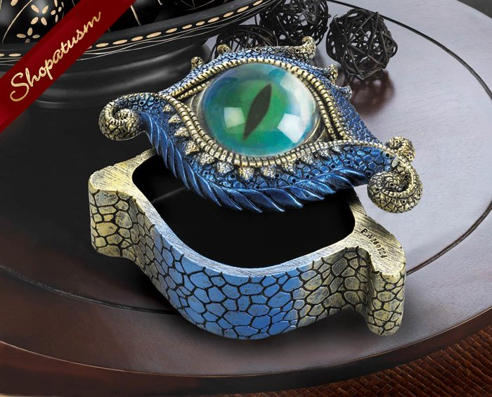 Image 1 of Blue And Gold Dragons Eye Trinket Jewelry Box