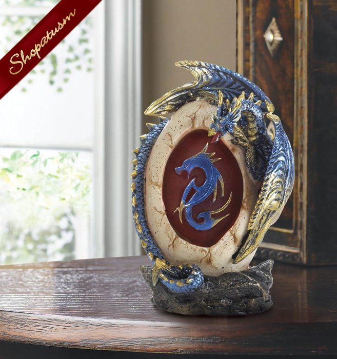 Metallic Blue And Gold Dragon Egg Statue LED Light