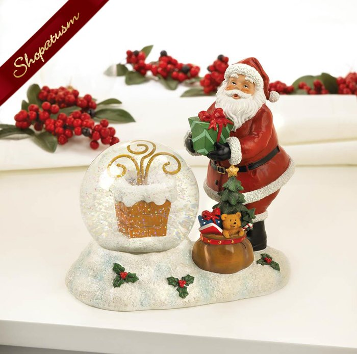 Christmas Santa And Chimney Snow Globe LED Light