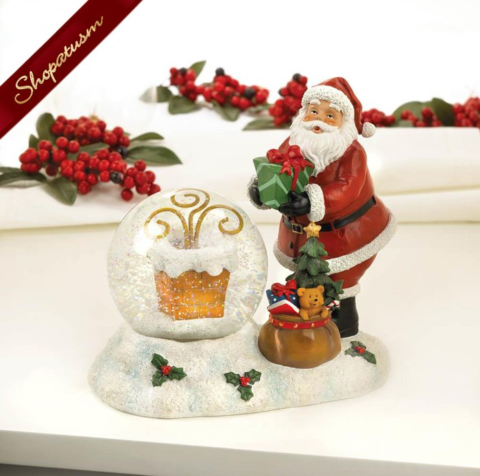 Image 1 of Christmas Santa And Chimney Snow Globe LED Light