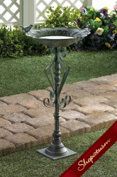 Cast Iron Speckled Green Garden Birdbath Antique Finish