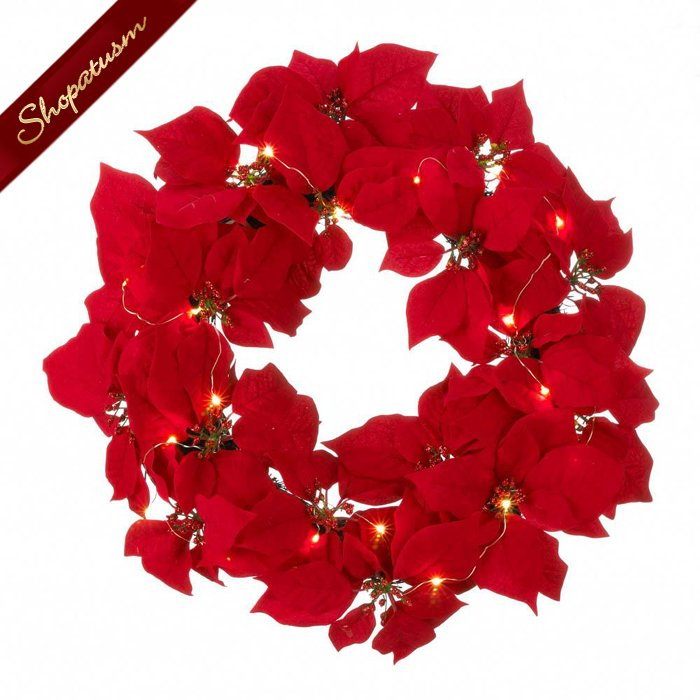 Image 1 of Red Poinsettia Fabric Wreath Fairy LED Lights Christmas Decor