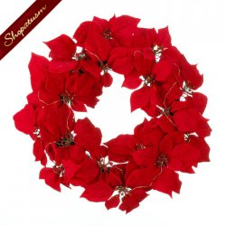 Red Poinsettia Fabric Wreath Fairy LED Lights Christmas Decor