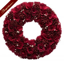 Elegant Winter Red Rose And Pine Cones Decorative Wreath