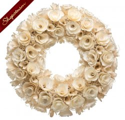 Decorative Winter White Christmas Rose Wreath