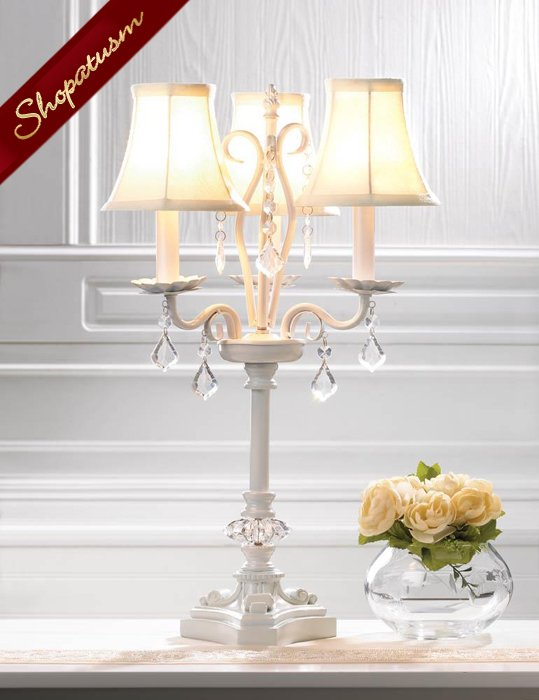 Deluxe White Chandelier Table Lamp With Faceted Jewels