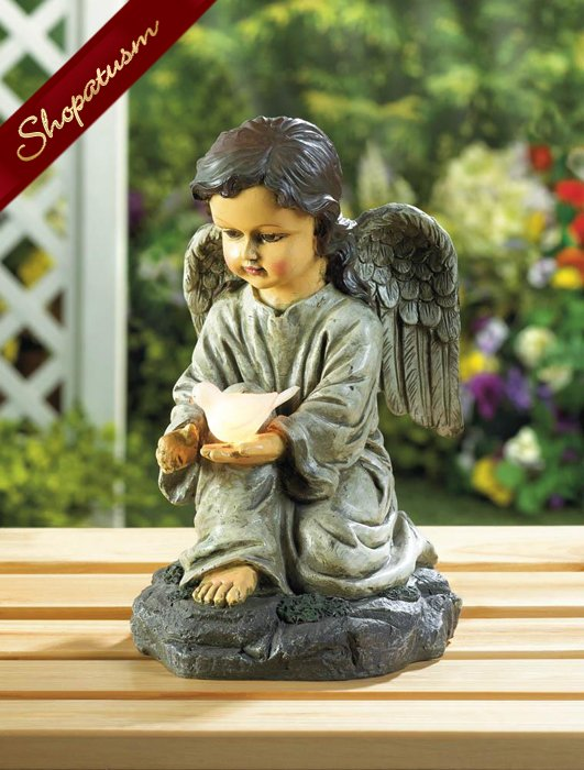 Solar Angel With Dove Garden Statue With LED Light