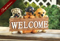 Puppy Front Porch Or Garden Welcome Sign Polyresin