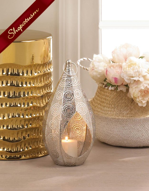 Spiral Design Lantern Silver Teardrop Table Centerpiece Weddings