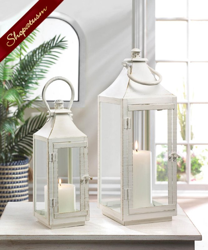 12 Bulk Large Shabby Distressed Cottage Style Lantern Wedding Decorations