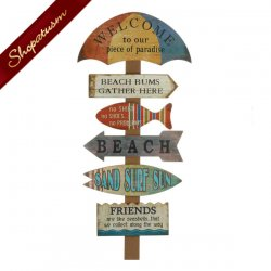 Welcome To The Beach Wood Wall Decor Wooden Sign
