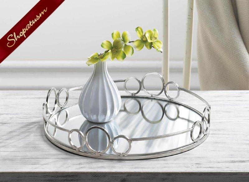 Silver Circles Mirror Metal Tray Decorative Accents Wedding Centerpiece