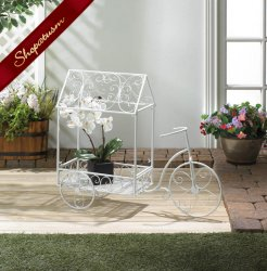 Vintage Style White bicycle Plant House Decorative Garden Decor