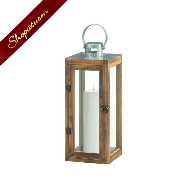 Square Wood Lantern Metal Top Wedding Centerpiece Indoor Outdoor