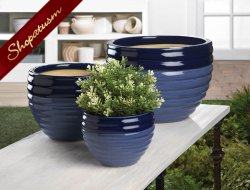 Blue Duo Tone Planter Set of 3 Indoor Outdoor Garden Ceramic Planters