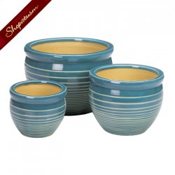 Blue & White Ceramic Planter Set of 3 Indoor Outdoor Garden Pots