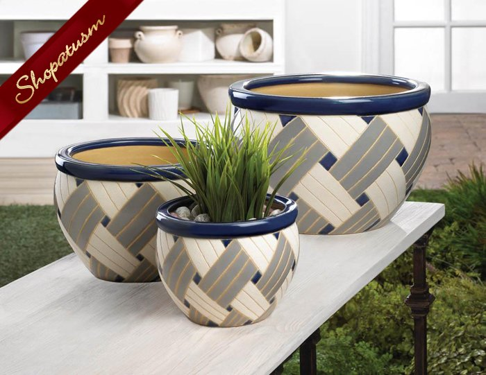 Ceramic Pots Geometric Design Blue White & Gray Planter Set of 3