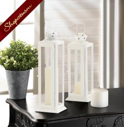 24 Large Star Cutout Lantern White Centerpiece Indoor Outdoor Weddings Bulk Lot