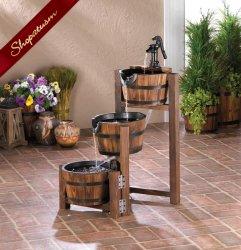 Vintage Style Apple Barrel Cascading Garden Fountain Yard Decor