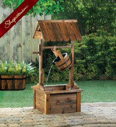 Vintage Style Cottage Wishing Well with Bucket Garden Fountain