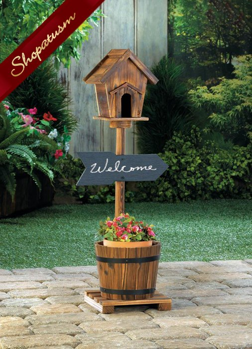 Rustic Wood Welcome Birdhouse Cottage Chic Barrel Planter Garden Decor