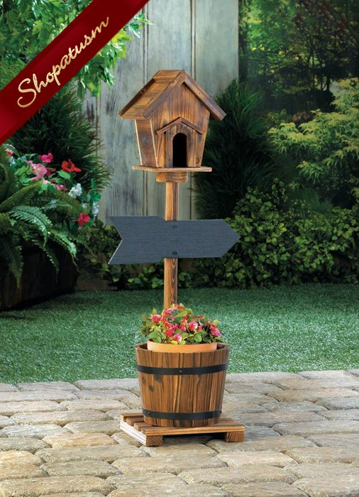 Image 1 of Rustic Wood Welcome Birdhouse Cottage Chic Barrel Planter Garden Decor