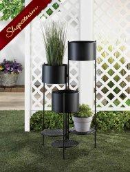 Modern 3 Tier Black Barrel Bucket Planter Garden Decor