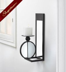 Industrial Black Mirrored Wall Sconce Candle Holder