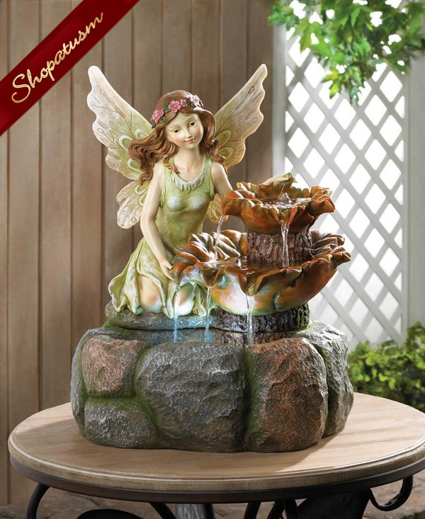 Magical Fairy Garden Water Fountain Whimsical Statue