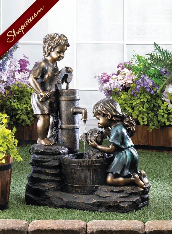 Vintage Style Children Giving a Dog a Bath Water Fountain Garden Decor
