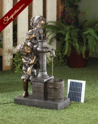 Children Filling Their Pail Solar Powered Water Fountain Garden Decor