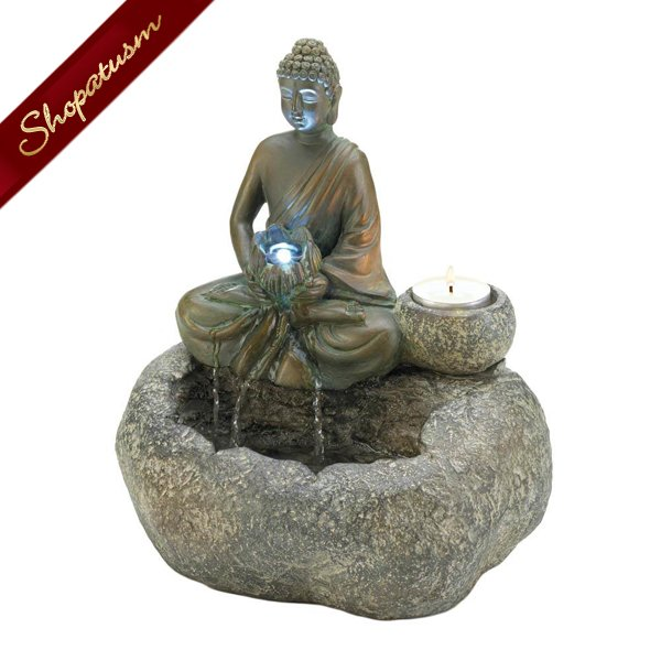 Water and Fire Buddha Tabletop Fountain Candle Holder LED Light