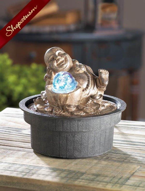 Happy Buddha Tabletop Fountain LED Ball