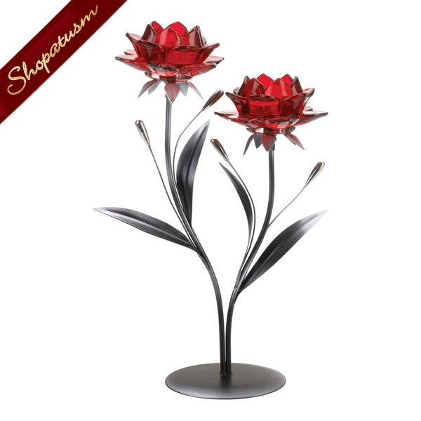 12 Bulk Blooming Red Blossom Flowers Tealight Candle Holder Centerpieces