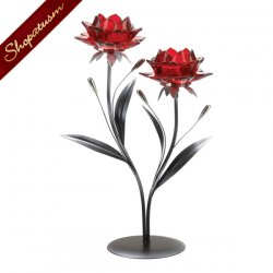 Blooming Red Blossom Flowers Tealight Candle Holder Centerpiece