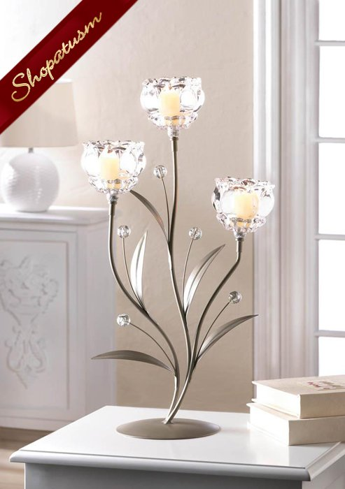 24 Crystal Flower Large Centerpieces Triple Glass Cup Bulk Candle Holders