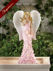 Wings of Devotion Pink Rose Angel Statue Solar Powered Garden Decor
