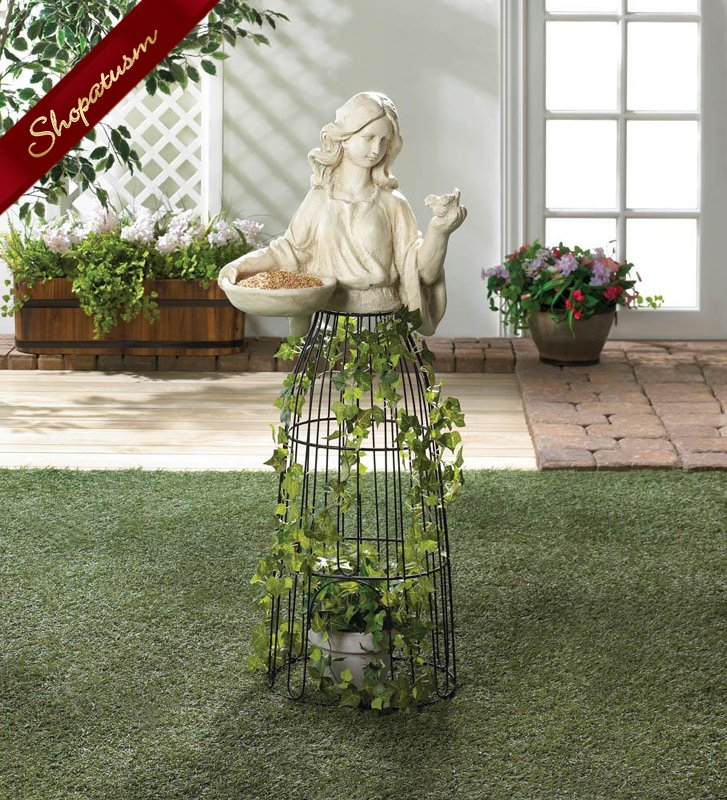 Lady Sculpture Plant Atrium and Bird Feeder Garden Decor