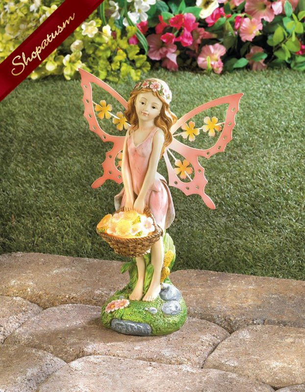 Pretty Pink Fairy with Wings Solar Garden Statue
