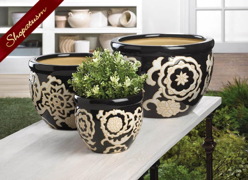 Black and White Floral Design Ceramic Planter Set of 3