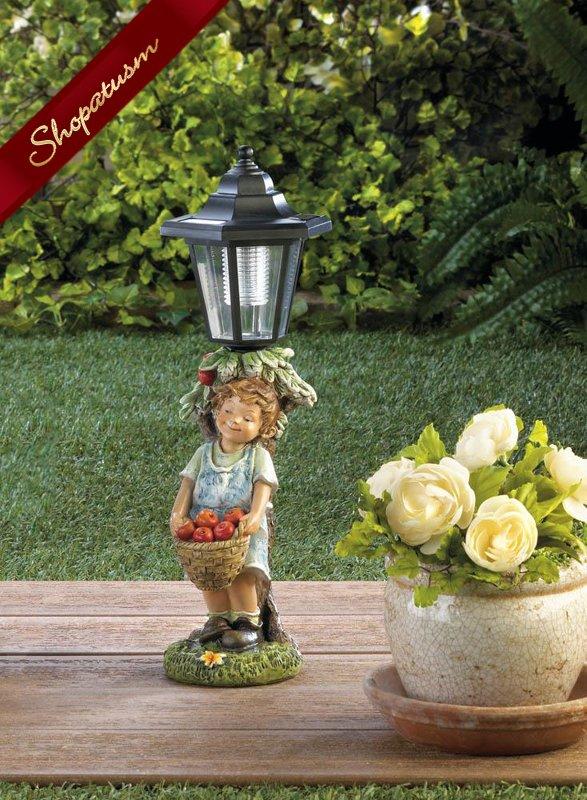 Little Boy with Apple Basket Solar Street Light Garden Statue