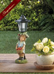Little Boy with Apple Basket Solar Street Light Garden Statue
