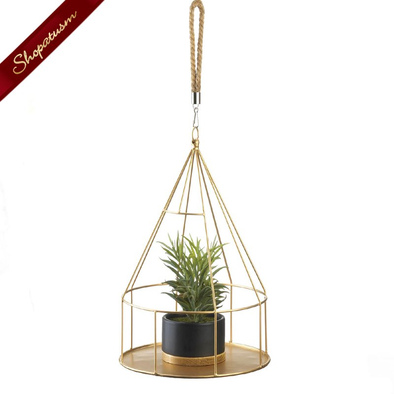 Gold Hanging Plant Holder With Round Base and Rope