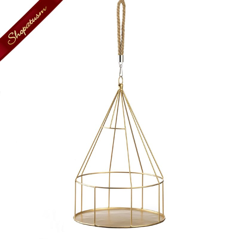 Image 1 of Gold Hanging Plant Holder With Round Base and Rope