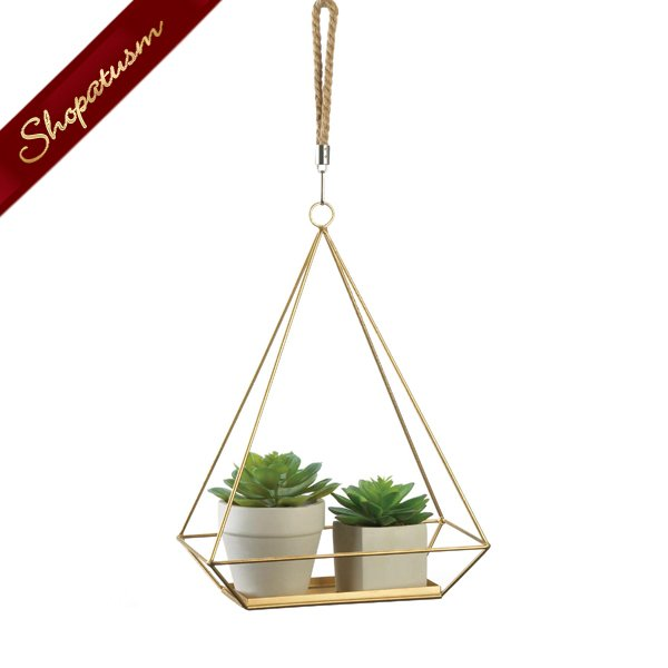 Gold Hanging Plant Holder With Rectangle Base and Rope