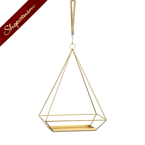 Image 1 of Gold Hanging Plant Holder With Rectangle Base and Rope