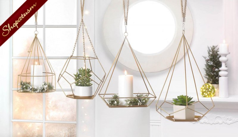 Image 2 of Gold Hanging Plant Holder With Rectangle Base and Rope