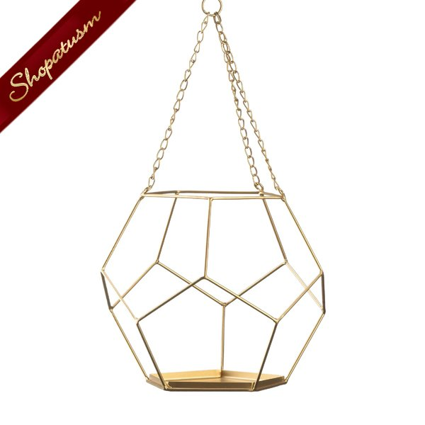 Image 1 of Gold Hanging Geometric Plant Holder With Rope