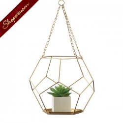 Gold Hanging Geometric Plant Holder With Rope