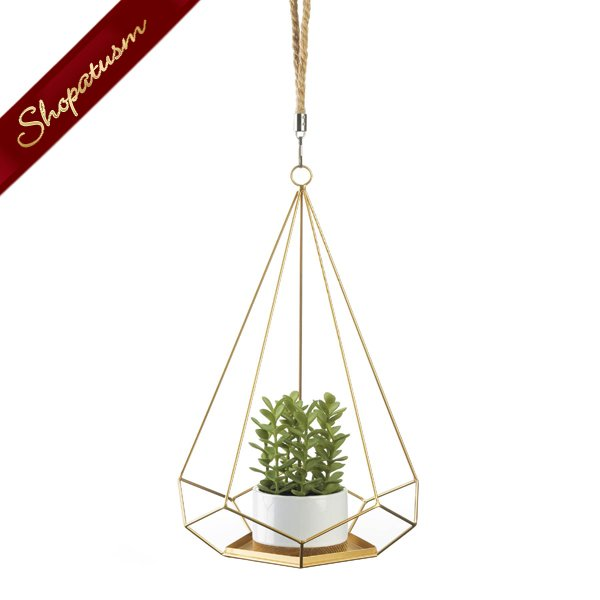 Gold Prism Hanging Plant Holder With Rope